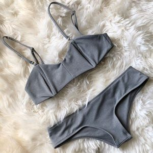 BEACH RIOT Bikini Set XS Heather Gray Gold Hardwar